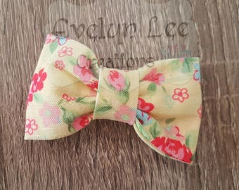 Yellow with Pink Flowers Hair Bow