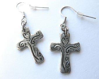 Shiny SILVERTONE Etched Cross EARRINGS, Vintage NOS Cross Earrings, 1980s New Old Stock Silver Earrings, Pierced Ear Cross Earrings