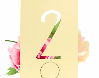 Soft Pastel Yellow Modern Laser Cut Table Number Cards