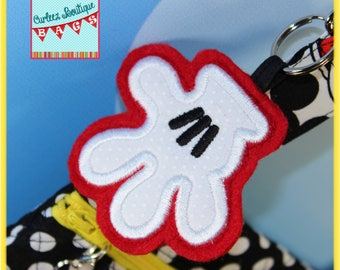 Disney Felt Applique Mickey Glove Dangle Keychain