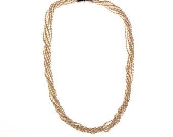Genuine Rice Pearl Multi Strand Necklace, Vintage 1980s, Torsade