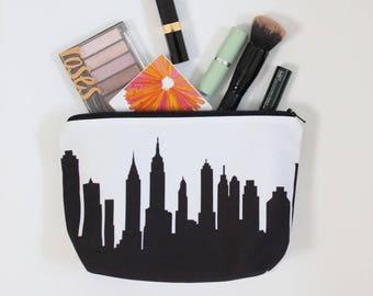 NEW YORK CITY Skyline Cosmetic Bag. Skyline Makeup Bag. Twill Makeup Bag. Skyline Silhouette Purse. Gifts for Her. Travel Gift.