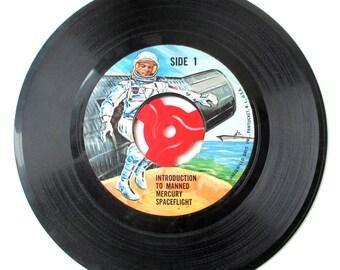 Vintage 45 Record Mecury Space Flight, NASA, Space Travel, Sci-Fi, John Glenn