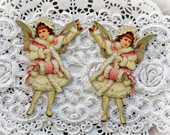 Reneabouquets Printed Beautiful Board Laser Cut Chipboard Victorian Winter Angel Die Cut Set Choose Your Size Small Or Large