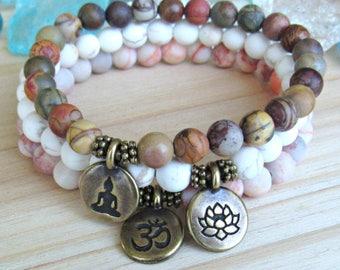Yoga bracelets, Yoga stack, red vein, picasso Jasper, magnesite, bracelet set, Reiki Charged, stacking malas, Meditation, om, lotus, Buddha