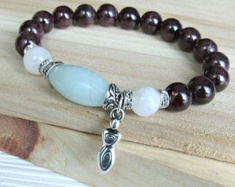 Garnet bracelet, Moonstone, Amazonite, fertility bracelet, goddess, beaded, stretch bracelet, Healing bracelet, mala, red bracelet,