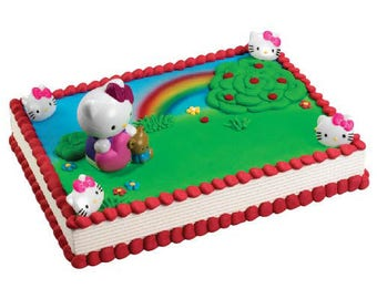 Hello Kitty - Bubble Blower Cake Kit - Make your own cake - Cake Toppers Decorations Party Favors Supplies