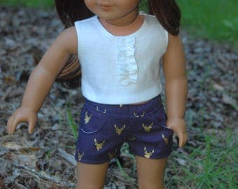 SALE-2 piece-fits American Girl Doll clothes/18 inch doll clothes/AG doll clothes/doll shirt/doll outifit/doll shorts/Deer Love