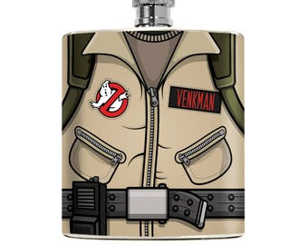 Custom 360 designed GHOSTBUSTERS Inspired Hip Flask. Handmade personalized gift for your Boyfriend Groomsman, Husband, Best Man or Cosplayer