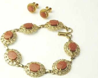 Vintage Aventurine Glass Gold Filigree Bracelet & Earrings Mid Century 1950's Costume Jewelry Gift For Her on Etsy