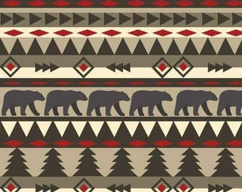 Decorative Pillow Cover - Aztec bears and Ivory Crushed Minky