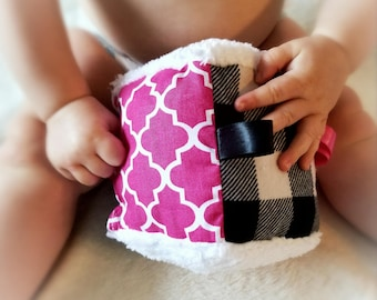 Baby soft block toy with crinkle paper, pink and black, plaid,  chenille on two sides, cube toy, baby gift, sensory toy, baby shower