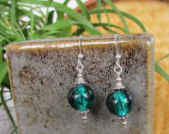Emerald Foil, Sterling Silver and Lead Free Pewter Earrings