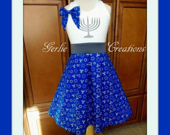 Girls HANUKKAH Dress, Girls Dress, Hanukkah, Chanukah, Menorah, Star of David -  Available in  2y - 12y