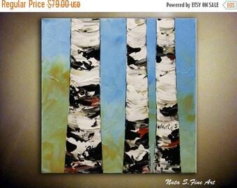 "Summer SALE Original Birch Painting Textured Tree Artwork Palette Knife Modern Birch Tree Painting Modern Home & Office Wall Decor 12"" x 12"""