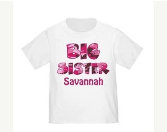 ON SALE Big Sister Pink Camo Camoflauge Personalized T Shirt