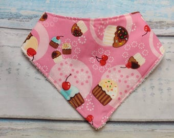 Pink Cupcake Baby Bandana Bib