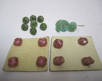 Lot of 21 Vintage Tiny Glass Buttons