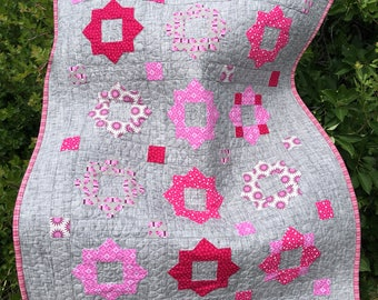 Baby Quilt, Pink and Gray Quilt