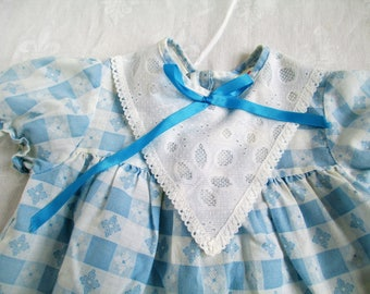 Vintage Adorable Child's Blue Checked with Flowers, and Lace ruffle Dress Size 3 Toddler  Vintage Baby Or Doll Clothes