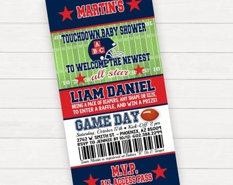 Football Baby Shower Invitation Football Invitation Football Ticket Invitation Baby Shower Invites Coed Baby Shower Invitations