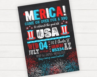 4th of July Invitation, Fourth of July Invitation, 4th of July Party, Fourth of July Party, BBQ Invitation printable, Pool Party Invitation