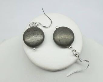 Sterling Silver Pyrite Earrings Gray Earrings Gemstone Earrings Dangle Earrings Lever Back Earrings Sterling Silver Earrings BuyAny3+1 Free