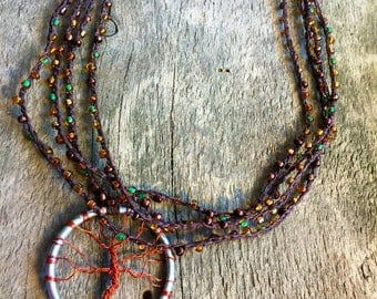 The Silver Tree Four Strand Crochet Necklace