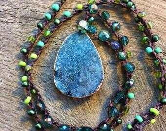 Spring Rain Crochet Druzy Necklace