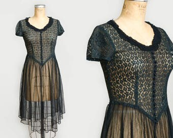1950s Sheer Black Lace Netting Gothic Evening Party Dress