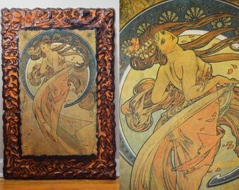 1970s MUCHA Dancing Lady Huge Art Nouveau Wood Framed Picture