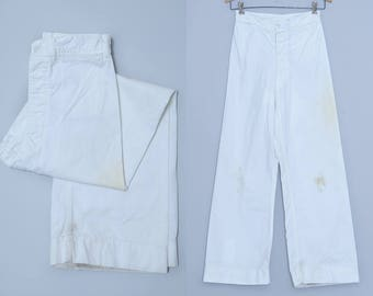1940s Sailor Pants US Navy WWll White Cotton High Waisted Flared Leg Pant 26 x 28.5