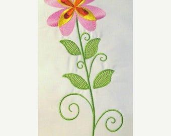 ON SALE Vintage Flower 03 Filled Machine Embroidery Design - 5x7 & 6x8