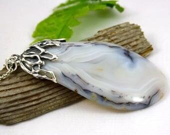 Elegant Grey - Grey Agate Stone Sterling Silver Pendant