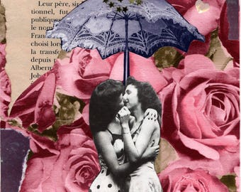 Kiss under umbrella Original collage
