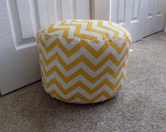 "Round 15"" by 10 1/2"" Chevron/Yellow White,  Pouf/Ottoman, Floor Pillow"
