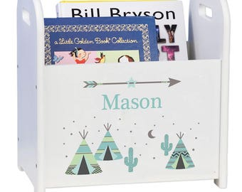 Personalized Book Caddy and Storage with Aqua TeePee Design-cadd-whi-242a