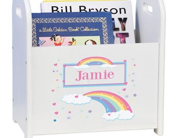 Personalized Book Caddy and Storage with Pastel Rainbow Design-cadd-whi-235b