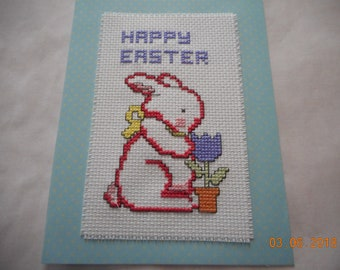 Easter card, Happy Easter, bunny with tulip, cross stitch card