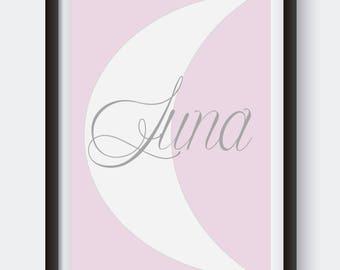 Custom Nursery Art. Digital Print. Moon Print. Purple Nursery Decor. Baby Girl Gift. Luna Art. Monogrammed Nursery. Baby Name Sign. Girl Art
