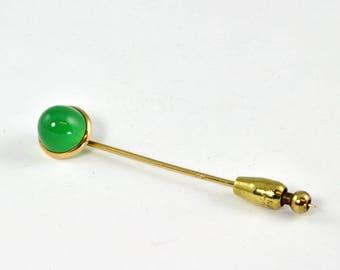 Antique 14K Gold Stick Pin - Art Deco - Chrysoprase Cabochon - in Antiqiue Cox