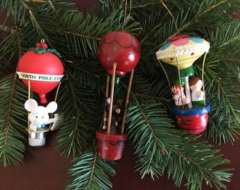 Vintage Hot Air Balloon Ornaments / Wooden Toy Ornaments / Set of 3 Christmas Ornaments
