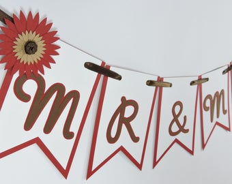 Mr and Mrs Banner - Rustic Wedding Decor - Custom Colors Available - Mr & Mrs Pennant Banner