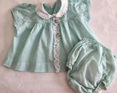 Vintage 1950s 60s Baby Infant Girl's Cotton Top and Diaper Cover Set