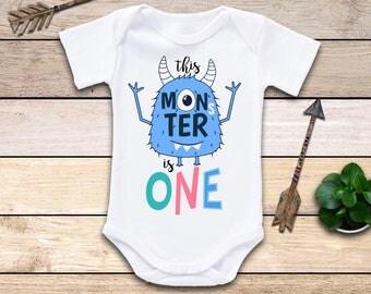 Fuzzy Blue Monster First Birthday Shirt, Monster Birthday Shirt, First Birthday Boy, 1st Birthday Outfit, First Birthday Outfit