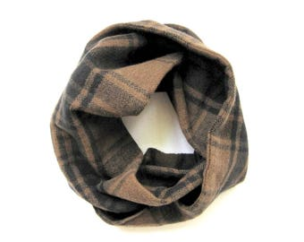 Brown Plaid Scarf, Flannel Scarf, Toddler Scarf, Girl Scarf, Boy Scarf, Baby Scarf, Children's Clothing, Under 20 Dollars, Ready to Ship