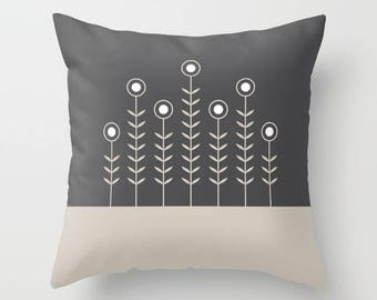 27 colours, Oyster beige, CHARCOAL background, SPRING SHOOTS, Minimalist Flowers pillow, Nordic, Faux Down Insert, Indoor or Outdoor cover