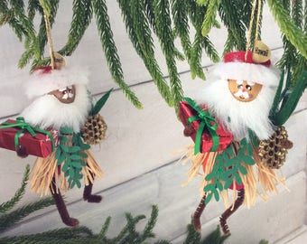 Hawaiian Christmas decoration - Hula Santa - Christmas ornament  - Mele Kalikmaka -  Hawaii St Nick - handmade original - co-worker gift
