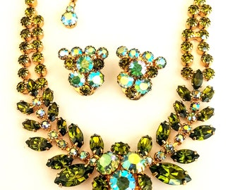 Signed Continental Rhinestone Necklace and Earring Set, Green & AB Rhinestones, Vintage Jewelry Set