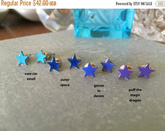 60% OFF Sale STAR studs outer space << indigo blue holy shit amazing yet so tiny its even more holier shitier amazinger